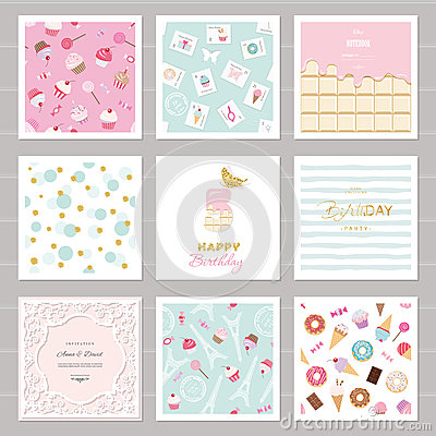 Free Cute Card Templates Set For Girls. Including Frames, Seamless Patterns With Sweets.  Royalty Free Stock Photos - 85057468