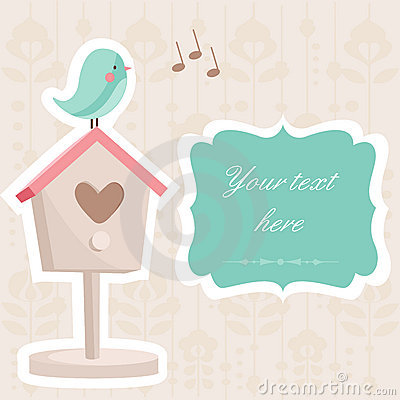 Free Cute Card With A Bird Royalty Free Stock Photos - 17737828