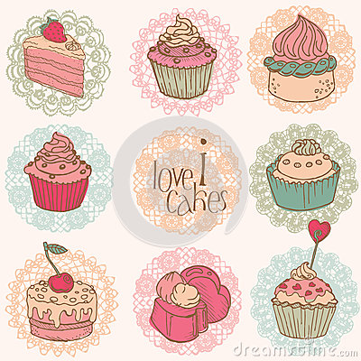 Free Cute Card With Cakes And Desserts Stock Photography - 26800982