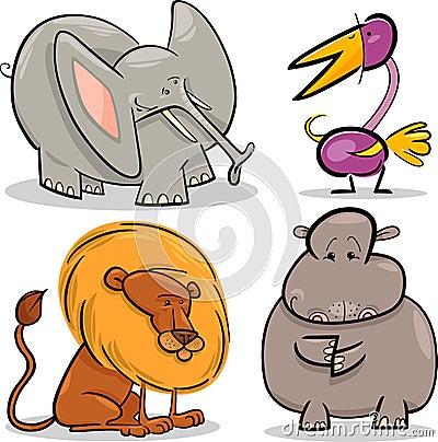 Cute cartoon african animals set