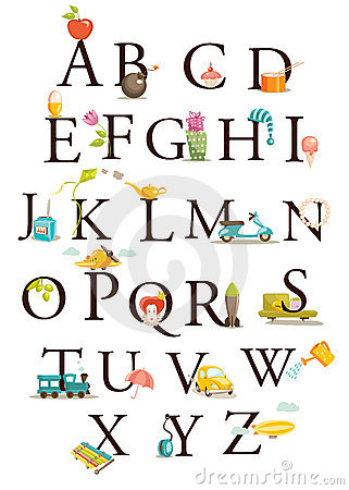Free Cute Cartoon Alphabet Royalty Free Stock Photo - 12668365