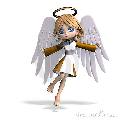 Cute cartoon angel with wings and halo. 3D
