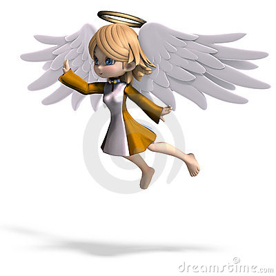 Free Cute Cartoon Angel With Wings And Halo Royalty Free Stock Photos - 15107668
