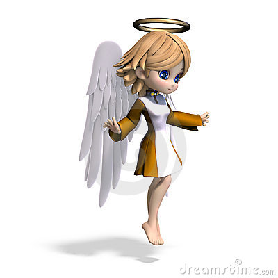 Free Cute Cartoon Angel With Wings And Halo Royalty Free Stock Image - 15736916