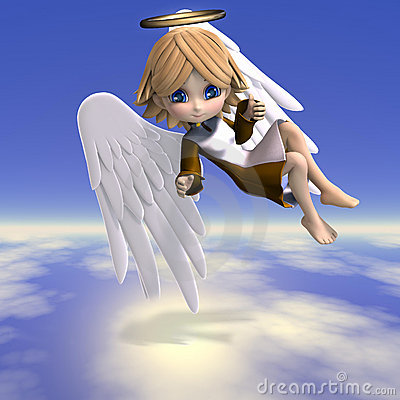 Free Cute Cartoon Angel With Wings And Halo. 3D Royalty Free Stock Image - 14442036