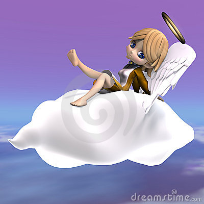 Free Cute Cartoon Angel With Wings And Halo. 3D Stock Photo - 14576270