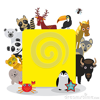 Cute Cartoon animals set toucan deer raccoon horse wolf Bison Penguin starfish crab seal leopard panda polar bear, frame on white Vector Illustration