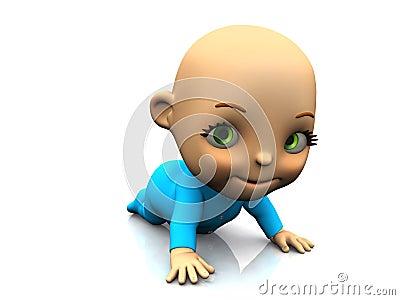 Cute cartoon baby crawling on the floor.