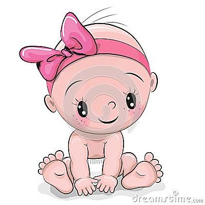 Free Cute Cartoon Baby Girl Royalty Free Stock Photos - 86167208