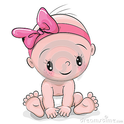 Cute cartoon baby girl Vector Illustration