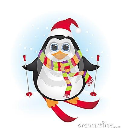 Cute cartoon baby penguin skiing
