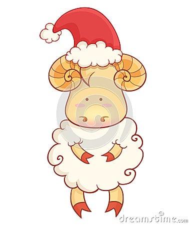 Cute cartoon baby sheep wearing santa hat