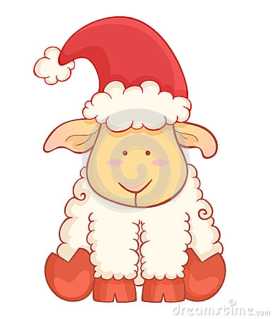 Cute cartoon baby sheep wearing santa hat