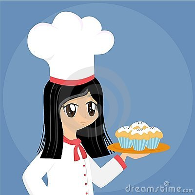 Cute Cartoon Baker Girl