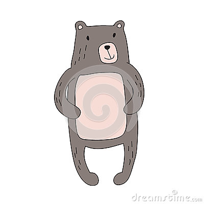 Cute cartoon bear character, vector isolated illustration in simple style. Vector Illustration