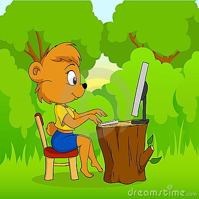 Cute cartoon bear typing on computer in forest