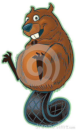 Cute Cartoon Beaver Balancing on Tail