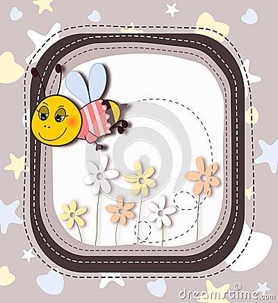 Cute cartoon bee in frame
