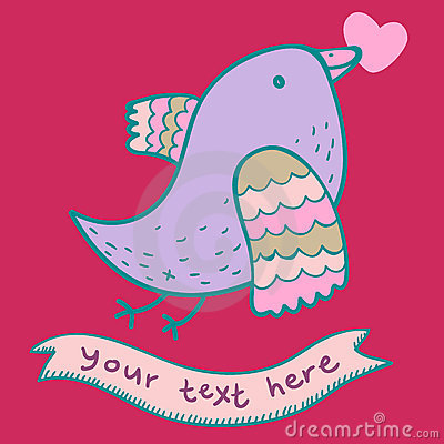 Cute cartoon bird in