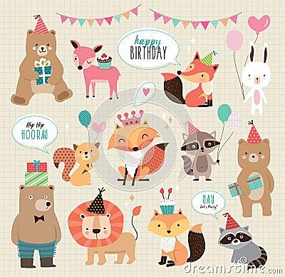Free Cute Cartoon Birthday Animals Royalty Free Stock Photo - 74366675