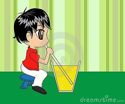 Cute Cartoon Boy Drinking