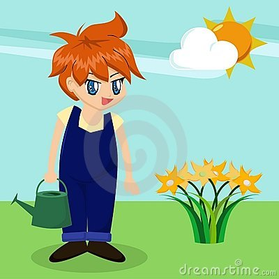 Cute Cartoon Boy in Garden