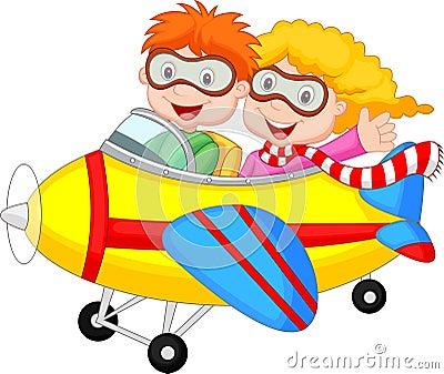 Cute cartoon boy and girl on a plane