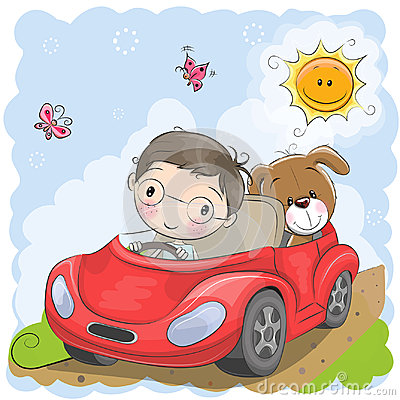 Boy goes on the car Vector Illustration