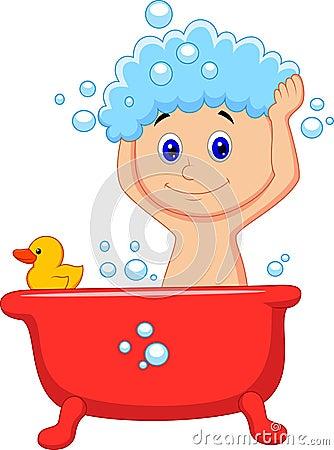 Cute Cartoon Boy Having Bath Royalty Free Stock Image ...