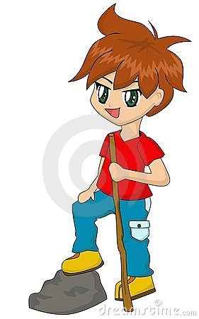 Cute Cartoon Boy Hiking