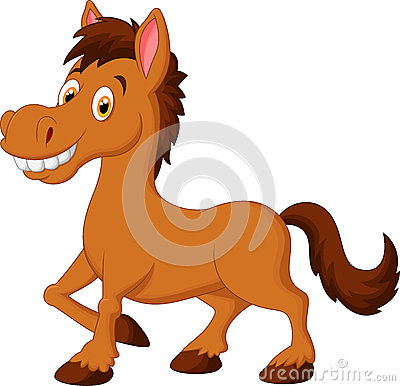 Free Cute Cartoon Brown Horse Stock Images - 49366714