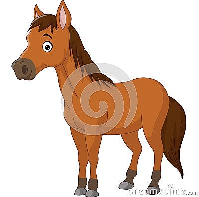 Free Cute Cartoon Brown Horse Royalty Free Stock Image - 72172666