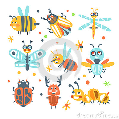 Cute cartoon bugs set. Funny insects colorful cartoon characters Vector Illustration
