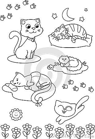 Cute Cartoon Cats Coloring Vector