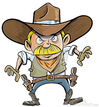 Cute cartoon cowboy with a gun belt.