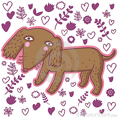 Cute cartoon dachshund