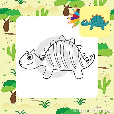 Free Cute Cartoon Dino Coloring Page Stock Photo - 117778140
