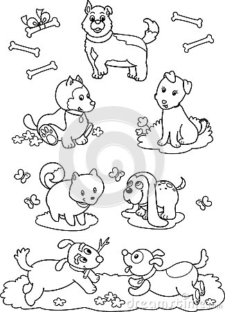 Cute cartoon dogs: coloring page