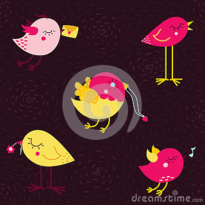 Cute cartoon doodle vector birds