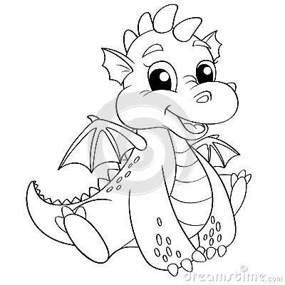 Free Cute Cartoon Dragon. Black And White Vector Illustration For Coloring Book Royalty Free Stock Image - 96327326