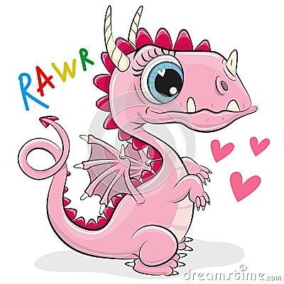 Free Cute Cartoon Dragon On A White Background Royalty Free Stock Photos - 117332938