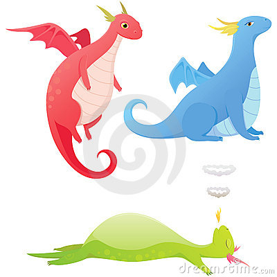 Cute cartoon dragons