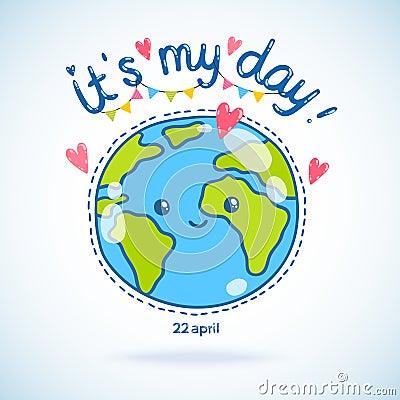 Cute Cartoon Earth Globe Day Background Stock