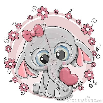Cute Cartoon Elephant girl with heart and flowers Vector Illustration
