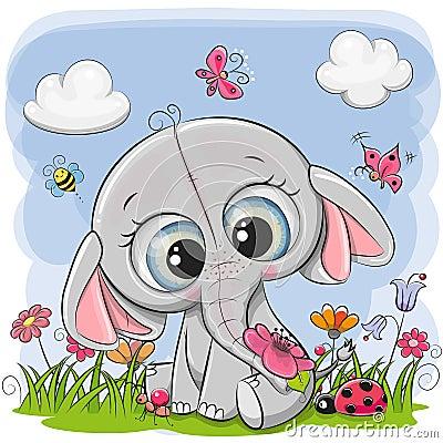 Cute Cartoon Elephant on a meadow Vector Illustration