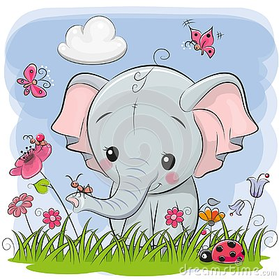 Cute Cartoon Elephant on a meadow Vector Illustration