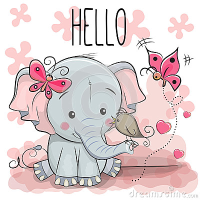 Free Cute Cartoon Elephant With Bird Stock Images - 97341494