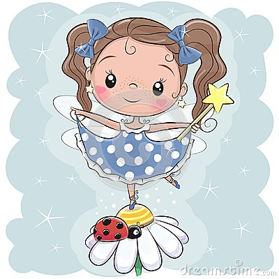 Cute fairy on the flower Vector Illustration