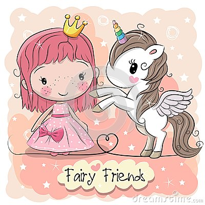 Free Cute Cartoon Fairy Tale Princess And Unicorn Stock Images - 103475194