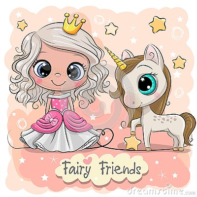 Free Cute Cartoon Fairy Tale Princess And Unicorn Royalty Free Stock Photography - 145002797